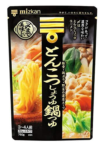 ミツカン 〆まで美味しいとんこつしょうゆ鍋つゆストレート 750g×4袋