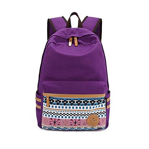 Guran® Fashion Lightweight Toile Portable Livre Sacs à Dos école Sac Voyage Femme Fille Hommes Garçon Enfant Leisure Backpack - Feuille Série/Pourpre