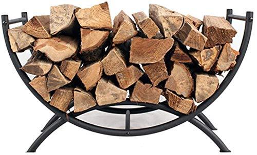 AJH Fireplace Log Holder, Firewood Holder Log Basket with Handles for Wood Stove Hearth Log Carrier, 26&12&15 Inch, Black