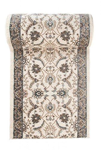 Läufer Teppich Flur in Beige Creme Ecru - Orientalisch Klassischer Muster - Brücke Läuferteppich nach Maß - 100 cm Breit - AYLA Kollektion von Carpeto - 100 x 50 cm