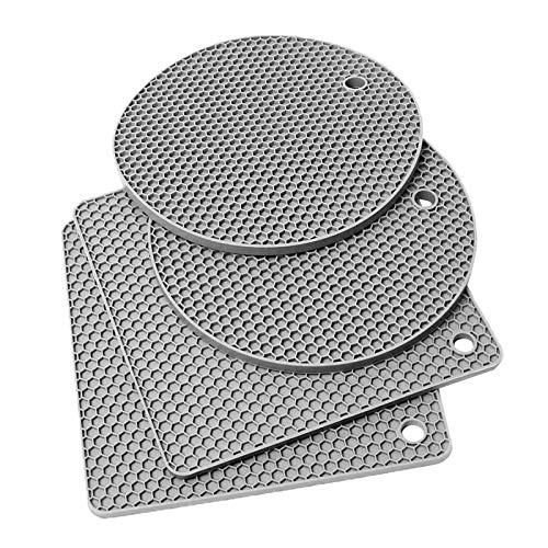 perfk Alfombrilla de Silicona Resistente Al Calor de 4 Piezas, Alfombrillas Antideslizantes, Cuadradas Y Circulares