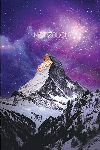 Notizbuch: Blanko Journal A5 Liniert Galaxy Weltall Berge