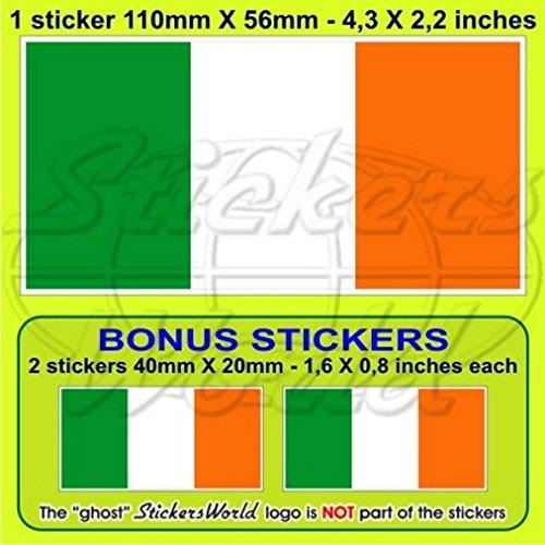 Irlande Drapeau Irlande Eire 109,2 cm (110 mm) pare-chocs Autocollant, EN Vinyle X1 + 2 Bonus