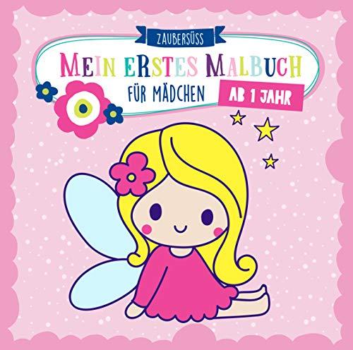 Mein erstes Malbuch ab 1 Jahr für Mädchen: Ausmalen und kritzeln der ersten Wörter für Mädchen mit Einhorn, Fee, Prinzessin, Meerjungfrau und vielen mehr