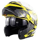 ATK SM955 Módulo Desplegable Casco de Motocicleta Doble Parabrisas Visera Solar Incorporada Forro Extraíble Cerradura Portátil, Dot,Yellow,XXL(63-64cm)
