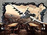 3D Murales Papel Pintado Pared Calcomanías Decoraciones El Avión Se Rompe Como Una Pared. Decoración De La Sala De Estar Art Children'S Kitchen (W)200x(H)140cm
