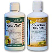 Super Multi Liquid Vitamin & Mineral Blend Fulvic-Humic BUNDLE by, Vital Earth Minerals | 32 Fl. Oz. - 1 Month Supply Each | High Potency - Sugar Free - Iron Free - Liquid - Vegetarian, MTHFR Friendly