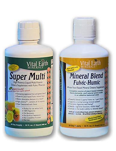 Super Multi Liquid Vitamin & Mineral Blend Fulvic-Humic BUNDLE by, Vital Earth Minerals | 32 Fl. Oz. - 1 Month Supply Each | High Potency - Sugar Free - Iron Free - Liquid - Vegetarian, MTHFR Friendly