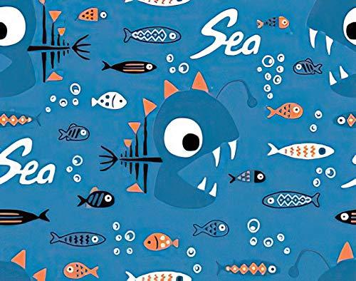 Ghjxda Ocean Theme 5D DIY Diamond Painting Kits of Angler Fish Cartoon Angler Anglerfish Animal Aquatic Blue Bubble Diamond Painting Kits for Adults Full Drill Crystal Gem Arts Wall Decor 16' X 20'