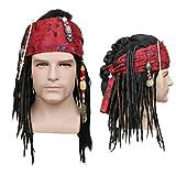 NUWIND Parrucca Pirata Caraibica con Treccia di Perle e Fascia Rossa Accessorio Cosplay per Carnevale Costume da Pirata di Halloween