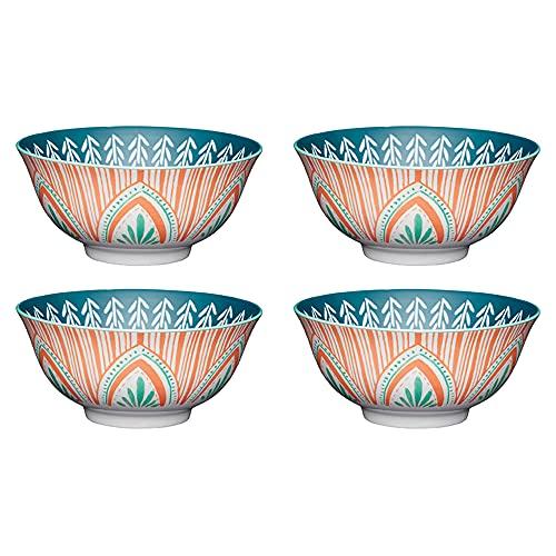 KitchenCraft Juego de 4 Tazones de Gres Esmaltado con Patrón De Rayas y Hojas Mediterráneas Aptos para microondas y lavavajillas, 15,7 cm (6 ') Verde y Rojo