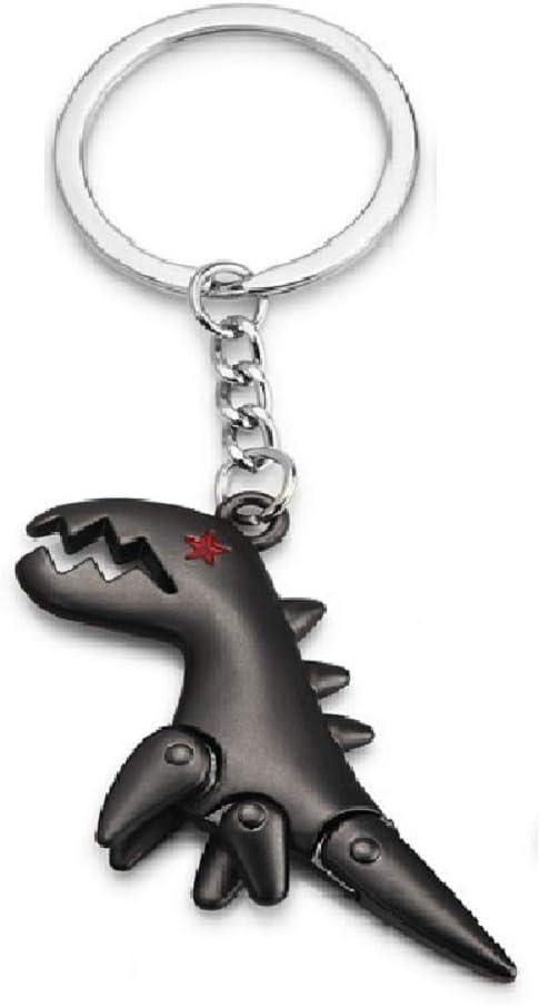 Metal Dinosaur Keychain Key Chain Keyring (Black)