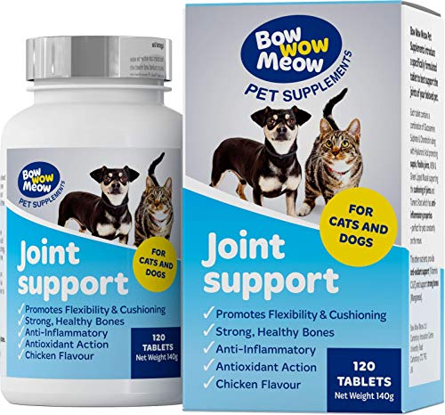 Suplemento para Articulaciones de Perros y Gatos | Curcuma, Glucosamina, Sulfato de Condroitina, MSM, Mejillón de Labios Verdes, y Acido Hialuronico | Antiinflamatorio para Perros | 120 Capsulas