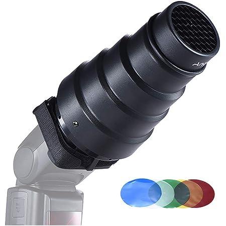Andoer Snoot Cónico Luz Modificador con 50 Grados Filtro de Nido de Abeja Color para Neewer Canon Nikon Yongnuo Godox Meike fotografía Vivitar En-cámara Speedlite Flash
