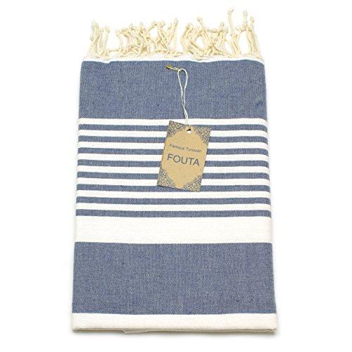 ANNA ANIQ Hamamtuch Fouta Saunatuch XXL Extra Groß 197 x 100cm - 100% gekämmte Baumwolle aus Tunesien - Strandtuch, orientalisches Bade-Tuch, Pestemal, Strand-Handtuch (Blue-Jeans gestreift)