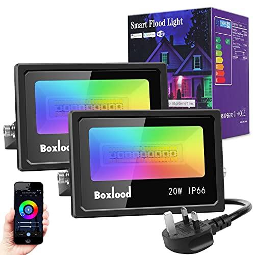 Smart Floodlight, Boxlood Smart Wifi Flood light Works with Alexa/Google, 20W RGBCW LED Flood...