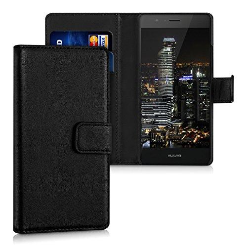 kwmobile Wallet Hülle kompatibel mit Huawei P9 Lite - Hülle Kunstleder mit Kartenfächern Stand in Schwarz