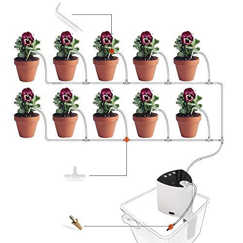 GNEGNIS Sistema di Irrigazione Automatica per Le Piante, Kit irrigazione a Goccia programmabile per Balcone terrazzo Giardino, Kit Fai-da-Te con Timer 30 Giorni per Piante in Vaso (Triangolo)