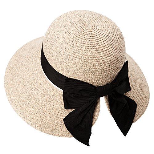 Comhats Faltbarer Strohhut Sonnenhut UPF 50 + mit Sonnen Shade Strand breite Krempe Damen Beige Fancet
