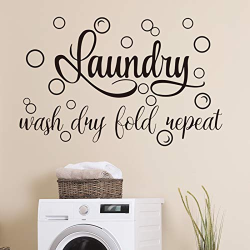 Laundry Room Vinyl Wall Decal Saying Wash Dry Fold Repeat Wall Sticker Bubble Sticker Decals Laundry Art Signs Wall Quote Sticker for Decoration Supplies (13.8 x 21.7 Inch, Black)