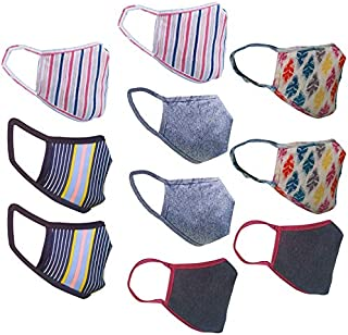 Cotton Cloth pack of 10 Face Mask Washable Reusable Face Masks Soft Earloop/Mouth Nose Cover face masks Men Women Kids Unisex(Multicolour Stripe,leaf print,dark blue,yellow stripe & Black Maroon )