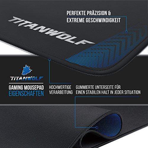 CSL – XXL Speed Gaming Mauspad Titanwolf – 900 x 400mm – XXL Mousepad – Tischunterlage Large Size – Perfekte Präzision und Geschwindigkeit - 4