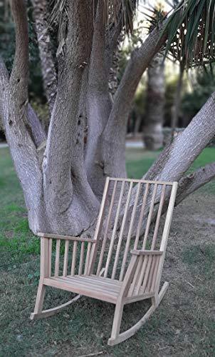 Desconocido Mecedora Mod. Menorca, Madera de iroko, Mecedora de Exterior, Made in Spain