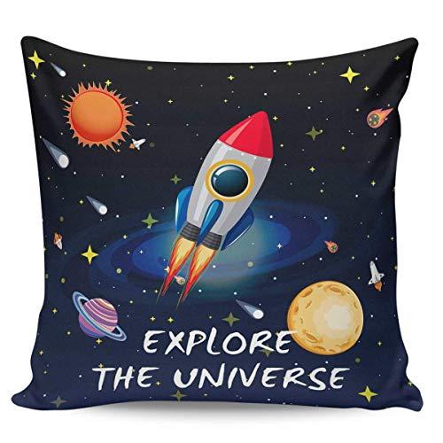 Ye Hua Fundas de Almohada de Lona, cuadradas, Universo Espacial, Sol y Luna, Fundas de Almohada con Cremallera, Fundas para cojín/Oficina/sofá/Dormitorio, decoración del hogar, Explorar el