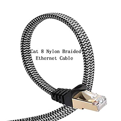Cat 8 Ethernet Cable, DanYee 10FT Nylon Braided Flat Network Cable High Speed Cat8 Patch LAN Cable (Grey 10FT)