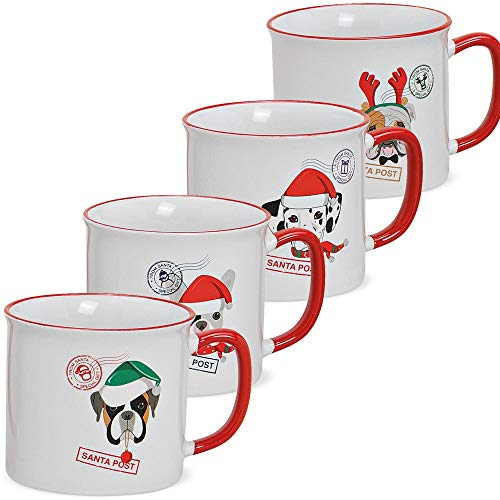 matches21 Tassen Kaffeetassen Weihnachten Hunde & Weihnachtsmützen Stempel Santa Post Porzellan 4er Set / 9 cm / 450 ml