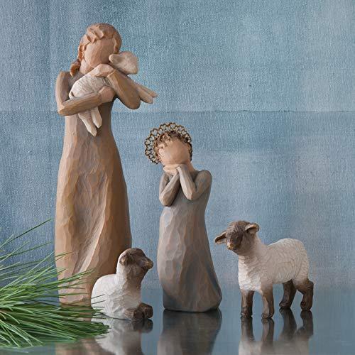 Willow Tree Little Shepherdess, Sculpted Hand-Painted Nativity Figures, 3-Piece Set