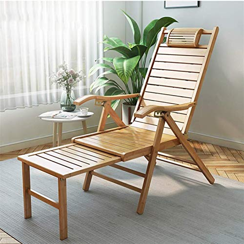 5-Gear Adjustable Recliner Chair, Folding Natural Durable Bamboo Lounge Adirondack Seating for Outdoor Garden Patio Living Room Porch, Portable Deck Recliner (Size : Bamboo Slice 3CM)