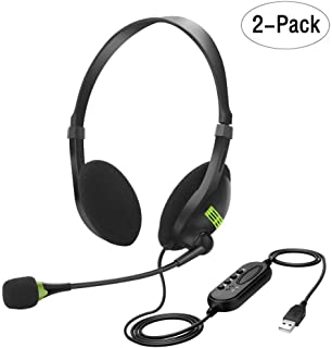 Hongzan USB Headset with Microphone Computer Headset with Noise Cancelling Call Center Lightweight Over Ear Headphones for PC/Laptop/Mac/School/Kids (2 Pack)