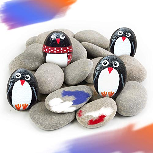 Ponwec 40PCS Painting Rocks River Rocks for Painting&Art,Smooth Unpolished Craft Rocks Stones DIY Rocks Flat Assorted Size and Shapes Range Around 1.5-2.36 Inch Each for Outdoor Rock Art Garden Decor