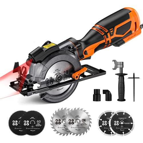"Mini Circular Saw, 5.8A 3500RPM, Metal Handle, 6 Blades (4-3/4' & 4-1/2""), Cutting Depth 90° (1-11/16''), 45° (1-3/8''), laser Guide Circular Saw for Wood, Soft Metal, Plastic"