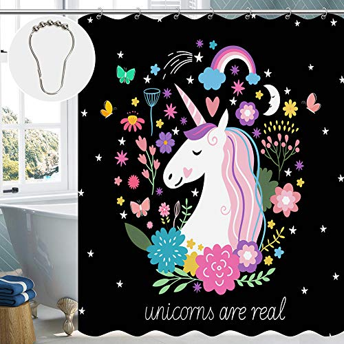 Cute Shower Curtain Unicorns are Real Pattern Fabric Shower Curtains for Girls Kids Bathroom with 12 Metal Hooks 72'×72'