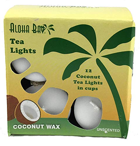Aloha Bay Coconut wax Candles, Tea Lights, Unscented, White, 12 Candles