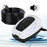 YAOBLUESEA Bomba de aireación para acuario, regulable, juego con 2 salidas, ultra silenciosa, 220 – 240 V, bomba de aire para acuario, ajustable, agrega oxígeno al pez 6800