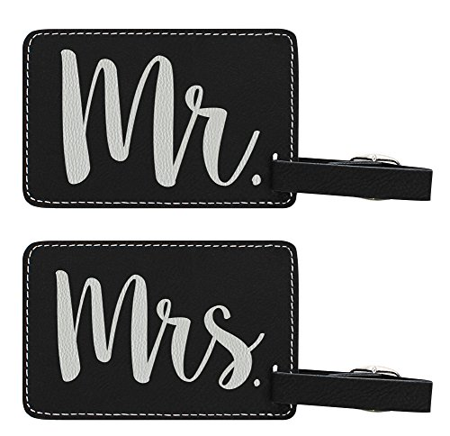 Luggage Tags for Couples Mr & Mrs Matching Couples Luggage Tags Couples Gifts for Newlyweds Anniversary Gifts 2-pack Laser Engraved Leather Luggage Tags Black