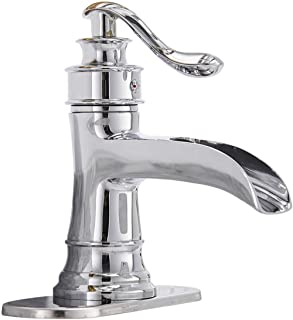 Homevacious Waterfall Bathroom Sink Faucet Chrome Single Handle Lever Bath Lavatory Faucets One Hole Basin Spout Mixer Tap Deck Mount Commercial Supply Hose Lead-Free