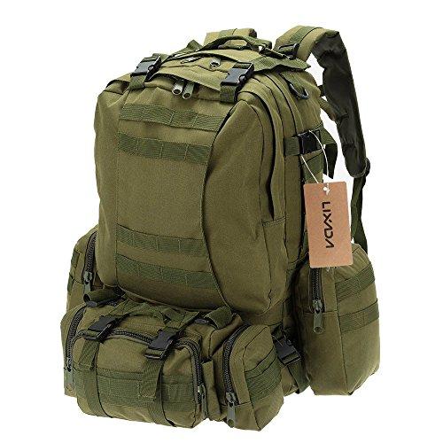 Lixada Militare Tattico Zaino 50L Impermeabile Esterno Multifunzione Gli sport Campeggio Escursioni Borsa con Molle Nastri