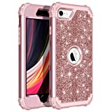 LONTECT Compatible with iPhone SE 2020 Case iPhone SE 2nd Generation Case Glitter Sparkle Bling Heavy Duty Hybrid Sturdy Armor High Impact Shockproof Protective Cover Case, Shiny Rose Gold