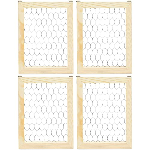 Bright Creations Unfinished Chicken Wire Window Picture Frame Set (7 x 9 in, 4 Pack)