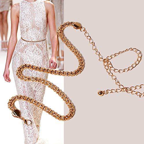 SFGSFC Metal Redondo Cintura de maíz Cadena de Oro Cinturón de Vestir Damas Hollow Cinturón Femenino Accesorios, 110CM