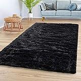 TT Home Alfombra Salón Pelo Largo Suave Diseño Monocolor Moderno En Negro, Größe:160x220 cm