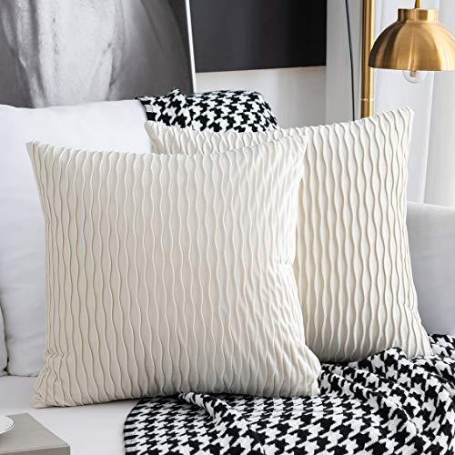 Kissenbezüge Set mit 2 dekorativen quadratischen rechteckigen Kissenbezüge Samt Moderne Kissenbezüge für Couch Bett Sofa Stuhl Schlafzimmer Wohnzimmer(Creme weiß)