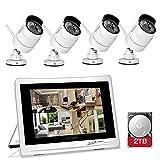 YESKAMO Kit Vidéo Surveillance sans Fil Système de Sécurité Caméra WiFi Intérieur/Extérieur 4CH 12 PoucesIPS Écran Moniteur+ 4 X HD 1080p 2MP IP Caméras avec 2 TB Disque Dur