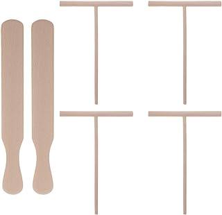 Hemoton 6 stycken trä Crepe spatel och Crepe spridare T-formad spridare non-stick Crepe maker pannkakstillbehör (träfärg)