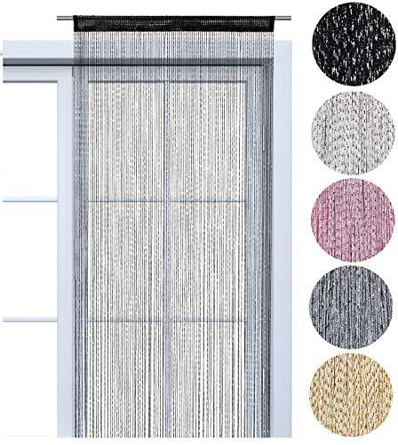 wometo Faden-Vorhang Glitzer-Vorhang 90x245 cm - schwarz-Silber glänzender Deko Schal transparent halbtransparent Weihnachten (schwarz-Silber)