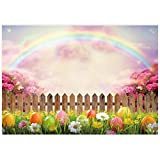 Allenjoy 7x5ft Spring Easter Photography Backdrop Colorful Eggs Rainbow Nature Scenery Background for Kids Children Adult Bridal Baby Shower Birthday Party Decor Banner Portrait Photo Booth Props